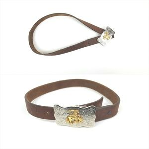 JUSTIN|Rodeo Buckle Brown Leather Belt